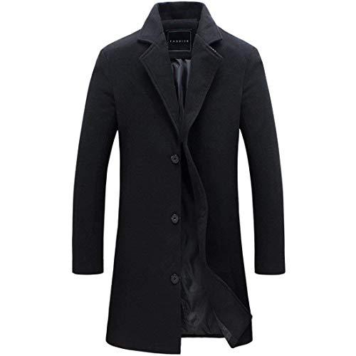 Slim Schwarz Cappotto Fit Elegante Da Trench Uomo Soprabito Lunga Semplice Risvolto Con Stile Manica Camice In wICIqgZx