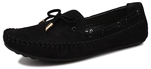 Kunsto Women's Suede Loafer Slip On Flat US Size 8.5 Black Suede Loafers Shoes