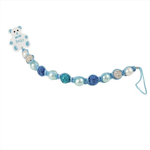 Ivy and Max Blue Faux Pearl and Crystals Teddy Bear Pacifier Holder (Pave Teddy)