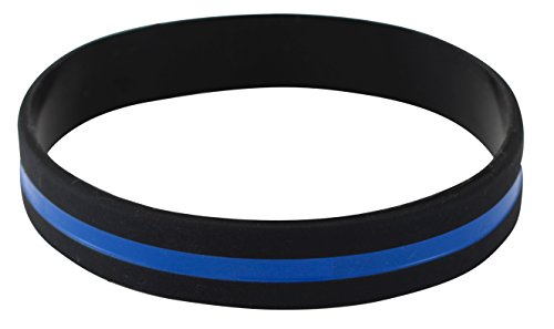 Police Officers Patrol Awareness Support Thin Blue Line Silicone Wristband Bracelets Value Pack (1 (Thin Blue Line Rubber Bracelet)