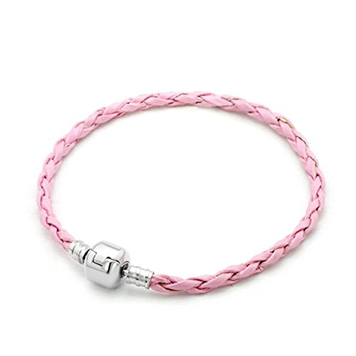 Heart of Charms Braided Handmade Leather Bracelets 3.5mm Wristband Men Women for Beads Charms (Pink)