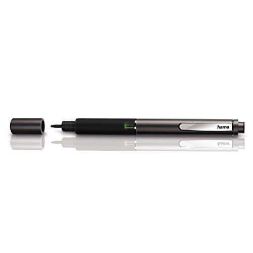 Hama Präzision Eingabestift Active Stylus Fineline (dünne Spitze 2mm, geeignet für Tablets und Smartphones, Batterie unterstützt) anthrazit/schwarz
