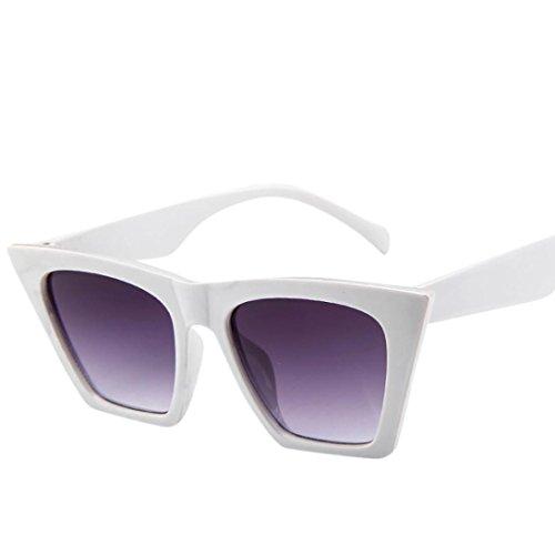 Femmes Couleur Plastique Vacance de Soleil Blanc pour Lunettes Lunettes de Carre Design rCrXwnAq