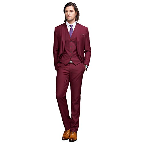 YIMANIE Mens Solid 3-Piece Suit One Button Formal Jacket Pants Vest Set Blazers, Wine Red, (Three Button Tie)