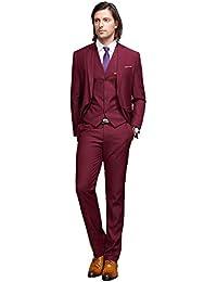 Men's Slim Fit 3-Piece Suit One Button Formal Business Wedding Party Blazers Vest Flat Front Pants Set