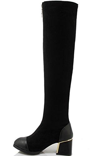 Oto Negro Mujer Bloque la BIGTREE C Casual sobre rodilla Invierno o Botas Cremallera T8axcRqf