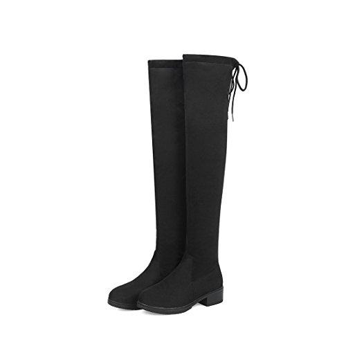 autunno casual bassi inverno DEDE stivali Stivali da stivali ginocchio al e stivali Sandalette black donna xEYtAqwI