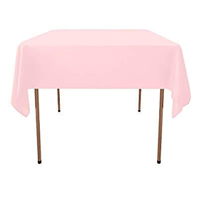 GlaiEleh Square Tablecloth - 54 x 54 Inch - Pink Square Table Cloth for Square or Round Tables in Washable Polyester - Great for Buffet Table, Parties, Holiday Dinner, Wedding & More - SUPERIOR FABRIC-100% Premium Polyester,Top Grade Premium Quality 200 GSM. TABLECLOTH FOR SQUARE TABLES - 54 x 54 inch Multiuse Square Protector for Sqaure and Round Tables- 100 Percent Polyester for Food Buffet, Weddings, Birthday Party, Thanksgiving & Christmas Dinner. FITTED FOR SQUARE and ROUND TABLE - Versatile Square Shaped Table Cloth Fits Square and Round Folding Buffet Tables, Outdoor Picnic Tables & Dining Room & Kitchen Tables. - tablecloths, kitchen-dining-room-table-linens, kitchen-dining-room - 31LnbJkyh9L. SS400  -