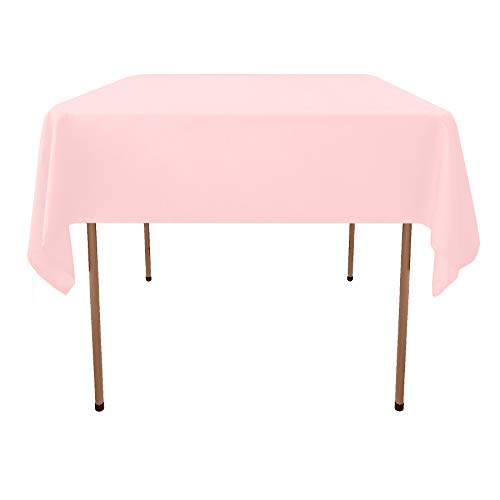 - GlaiEleh Square Tablecloth - 54 x 54 Inch - Pink Square Table Cloth for Square or Round Tables in Washable Polyester - Great for Buffet Table, Parties, Holiday Dinner, Wedding & More