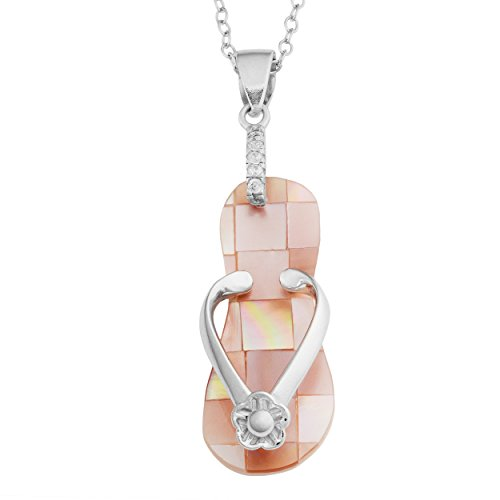 Sterling Silver Pink Mother of Pearl Flip Flop With Flower Design Necklace (18 inch)