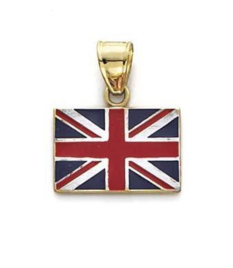Émail 14 Carats Pendentif Drapeau Royaume-Uni-JewelryWeb