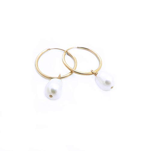 Baroque Freshwater Pearl Hoop Earrings for Women, 14K Gold Filled, 16mm Endless Hoops