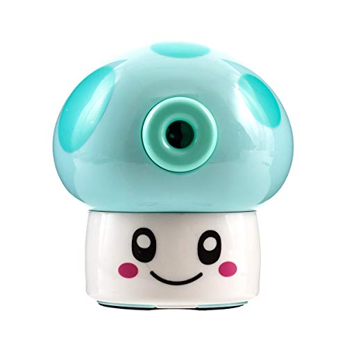 KKMO Kids Hand held Manual Pencil Sharpener with Cover for Colored Pencils (Mushroom-Blue) -