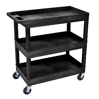 Luxor® E Series 3 Shelves Tub Utility Cart; Black by Open
