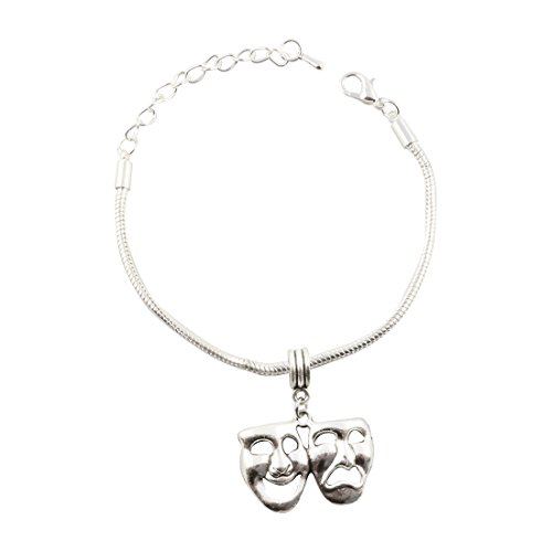 Drama Mask Charm (Comedy Drama Masks Snake Chain Charm Bracelet)