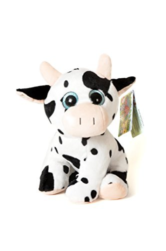 ANIMALS ON THE FARM - Plush Toy Cow with shiny eyes (10