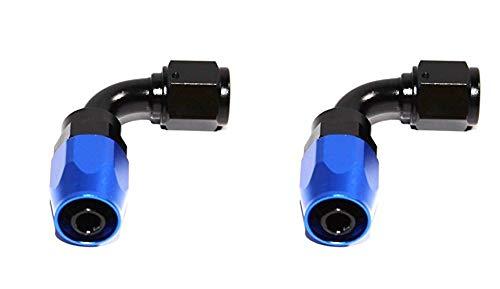 Two (2) AN-6 AN6 90° Deg Swivel Fuel Oil Gas Line Hose End Fitting Adapter ()