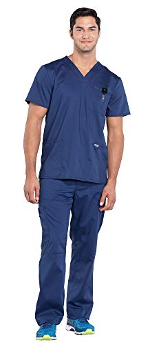 Cherokee Workwear Revolution Men's Medical Uniforms Scrub Set Bundle - WW670 V-Neck Top & WW140 Drawstring Pants & MS Badge Reel (Navy - -