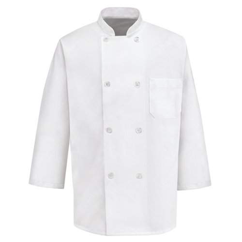 3/4 Sleeve Chef Coat (Red Kap Chef Designs¾ Sleeve Chef Coat, White, Medium)