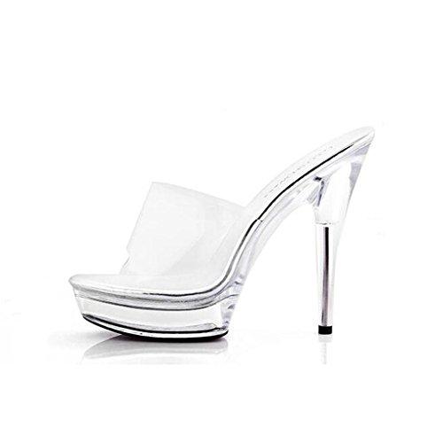 de de Sandalias de Exterior Sandalias Transparentes LLP Verano Zapatos Zapatos B de Para Alto Tacón de Mujer Zapatos Cristal Zapatillas wX7xxqad8