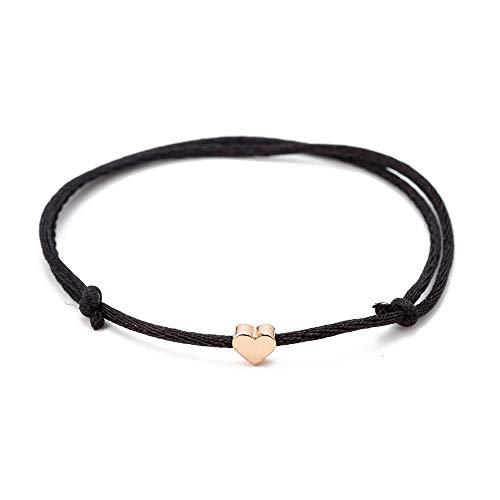 One Piece Black Thread Gold Plated Heart Charm Bracelet for Women Men Kids, Handmade Rope String Bracelets, Adjustable Length, Luck Friendship Love Romantic Gift Jewelry (1PCS & Black)