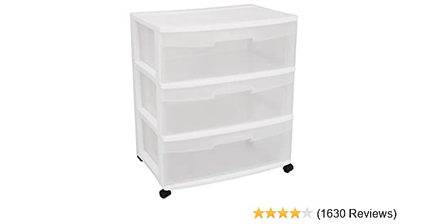 Amazon.com STERILITE 29308001 Wide 3 Drawer Cart White Frame with Clear Drawers and Black Casters 1-Pack Home u0026 Kitchen  sc 1 st  Amazon.com & Amazon.com: STERILITE 29308001 Wide 3 Drawer Cart White Frame with ...