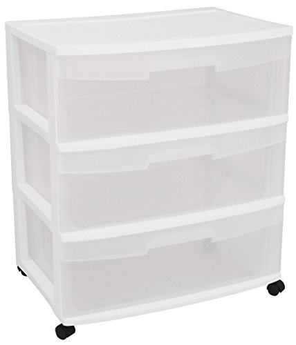 Sterilite 29308001 Wide 3 Drawer Cart, White Frame with Clear Drawers and Black Casters, 1-Pack (Small Dresser Drawers 3)