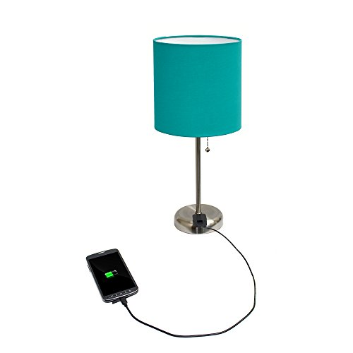 Limelights LT2024-TEL Stick Brushed Steel Lamp with Charging Outlet and Fabric Shade, 19.50 x 8.50 x 8.50 inches, Teal