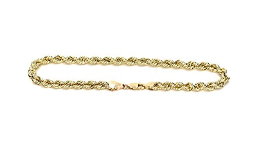 Real 10K Yellow Gold Hollow Rope Men and Women Bracelet 5.0mm, 7