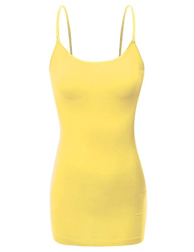 (RT1002 Ladies Adjustable Spaghetti Strap Basic Long Cami Tank Top Banana L)