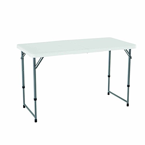 - Lifetime 4428 Height Adjustable Folding Utility Table, 48 by 24 Inches, White Granite (Certified Refurbished)