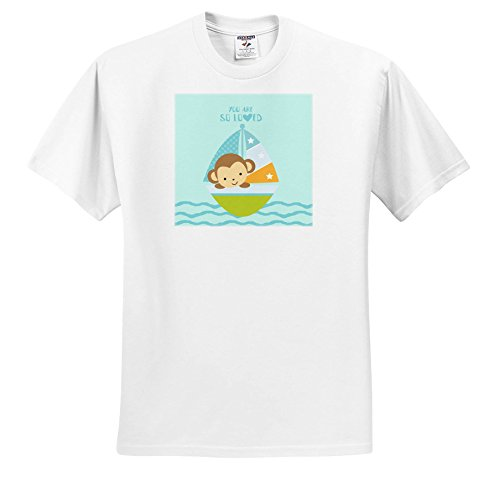 (3dRose Uta Naumann Sayings and Typography - Cute Baby Illustration - Monkey Ship Swimming On Ocean - You Are Loved - T-Shirts - Adult T-Shirt 2XL (TS_275556_5))