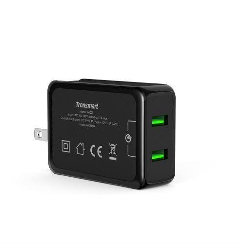 Tronsmart 4.8A Dual USB Wall Charger with Quick Charge 2.0 Technology.Foldable Plug for S7, S7 Edge, iPhone 6s / 6 / 6 Plus, iPad Air 2 / mini 3, LG G4, Nexus 6 and More