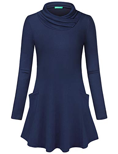 Kimmery Fall Tunics for Women, 2018 Long Sleeve Warm Cozy Shirts Cowl Neck Plain Colored Cute Pocket Tops for Leggings Form Fitting Comfy Sweatshirts Ladies Casual Work Pullover Dark Blue Medium