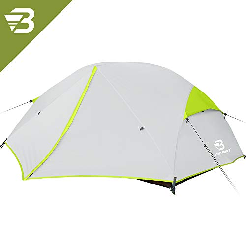 Bessport Backpacking Tents 2 Person, Easy & Quick Setup Lightweight Camping Tent - Waterproof, Two Doors for 3-4 Season Families, Expeditions, Outdoor, Hiking (Green)