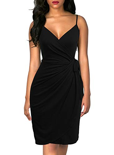 Berydress Women's Classic Spaghetti Strap Faux Wrap Semi Formal Dresses for Women Party Wedding (S, - Formal Dress Semi