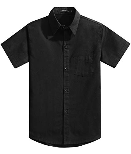 Spring&Gege Boys' Short Sleeve Solid Formal Cotton Twill Dress Shirts Black 11-12 ()