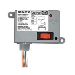 Functional Devices (RIB) RIB2421SB Enclosed Relay 20Amp SPDT-NO + Override 24Vac/dc/1