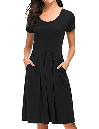 Pleated Empire Sweater - Fanfly Women Short Sleeve Pleated Loose Swing Casual T Shirt Dress with Pockets Knee Length