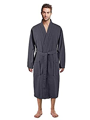 100% Luxurious Turkish Cotton Waffle Diamond Pattern Kimono Spa Bathrobe for Men