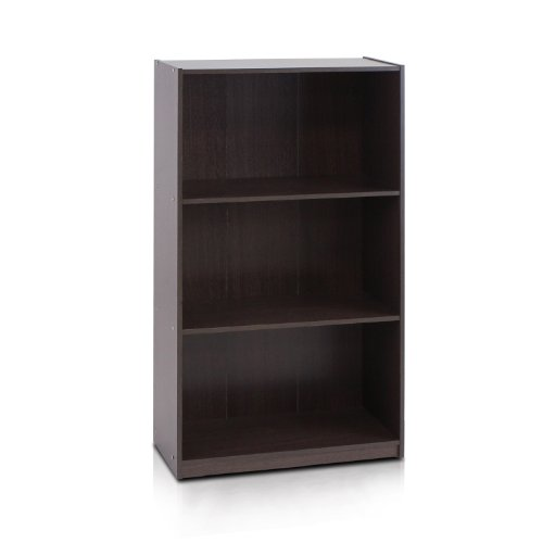 Furinno 99736DBR Basic 3-Tier Bookcase Storage Shelves, Dark Brown