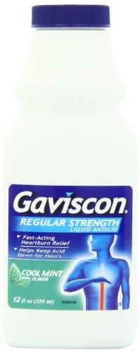 Gaviscon Regular Strength Liquid Antacid, Cool Mint Flavor, 12-Ounce Bottles (Pack of 3)