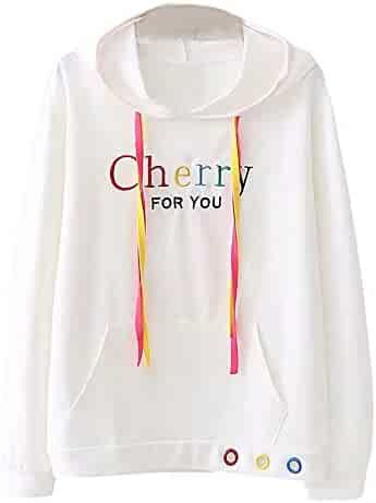 255dbb2f184b Women s Hoodie Long Sleeve Sweatshirt Letter Embroidery Hooded Casual  Jumper Pullover Teen Girls Fashion Tops Blouse