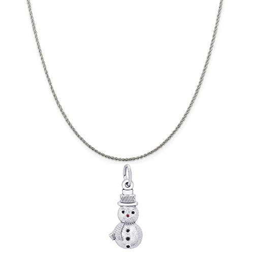 (Rembrandt Charms Sterling Silver Snowman Charm on a Sterling Silver Rope Chain Necklace, 18