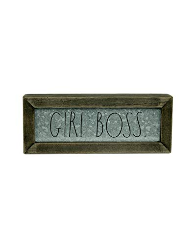 """Rae Dunn """"Girl Boss"""" Desk Plaque - Inspirational Message Desktop Sign for Home and Office Décor - Motivational Vintage Display for Cubicle, Work Space - Chic Distressed Wood and Metal"""