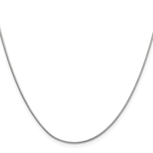 Mireval 14K White Gold .90mm Round Snake Chain Anklet, 9