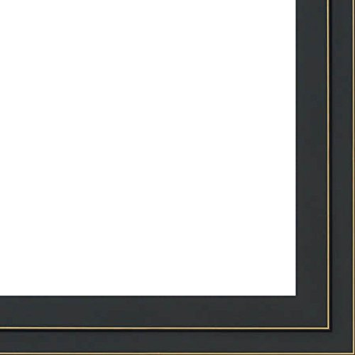 23x33 - 23 x 33 Black and Gold Pinstripe Solid Wood Frame with UV Framer's Acrylic & Foam Board Backing - Great For a Photo, Poster, Painting, Document, or Mirror