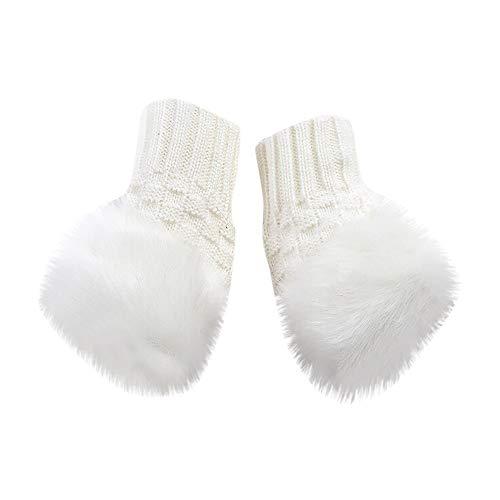 (Women Knitted Fur Woolen Gloves Winter Peep Toe Fingerless Touch Screen Arm Wrist Trim Gloves For Ladies (White))