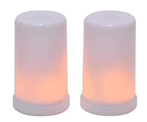 (Mark Feldstein Dancing Flame Flameless LED Light Up 4 Inch Pillar Candles Set of 2)