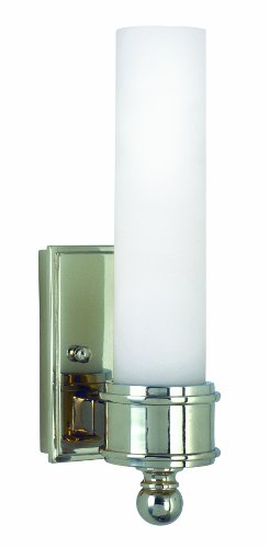 House Of Troy WL601-PC 10-1/4-Inch Cylinder Glass Wall Sconce, Polished Chrome with White Glass Shade
